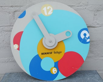 "Vintage 90' ""Renault Twingo "" blue, yellow, red promotional battery wall-clock"