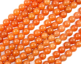 Red Aventurine Beads, Round, 8mm, 15.5 Inch, Full strand, Approx 47-50 beads, Hole 1 mm, A quality (367054005)