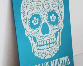 Dia De Los Muertos - Sugar Skull - Day of The Dead - Halloween - Art - Wood - Painting - Turquoise - Blue