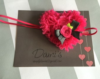 Valentines Headband, Hot Pink Heart Baby Headband
