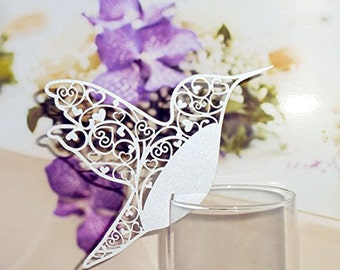 50Pcs White Humming Birds Wedding Table Number Place Cards Wine Glass Party Decoration Favor