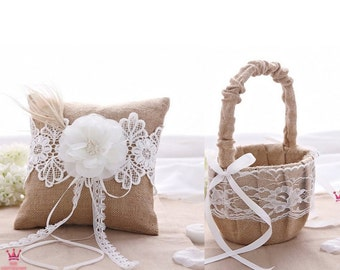 Burlap Lace Rustic Wedding Ring Bearer Pillow & Flower Girl Basket Set Party Favor