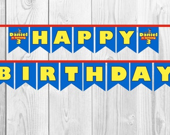 Personalised Toy Story Happy Birthday Banner, Bunting. Print yourself.