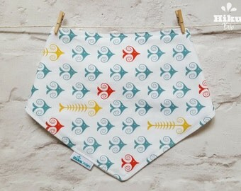 Bandana Dribble Bib - Organic Bamboo & Cotton - Gender Neutral - Fun Fishbone Bib - UK Seller