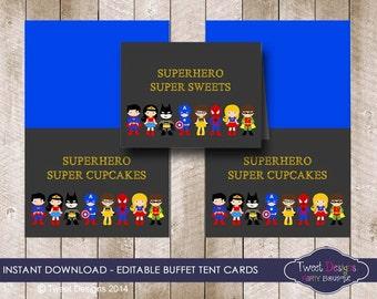 SUPERHERO FOOD LABELS, Instant download Superhero Buffet Tent Cards, Superhero Party, Print yourself Superhero, Edit with Free Adobe Reader
