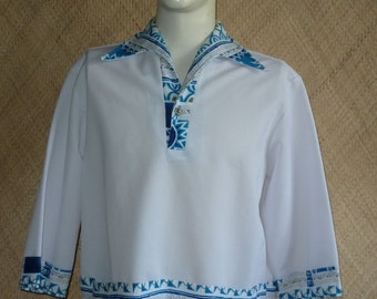 1960's Mens Iolani White Hawaiian Shirt