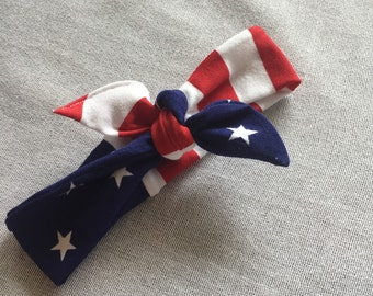Stars and Stripes headband // american flag head wrap // baby and adult sizes // headwear patriotic