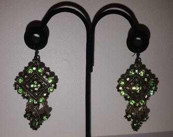 Coo-Coo Clock Earrings - Green Earrings - Flower - Floral - Women's Earrings - Green Crystal - Green Earrings - Antiqued Earrings - Earrings