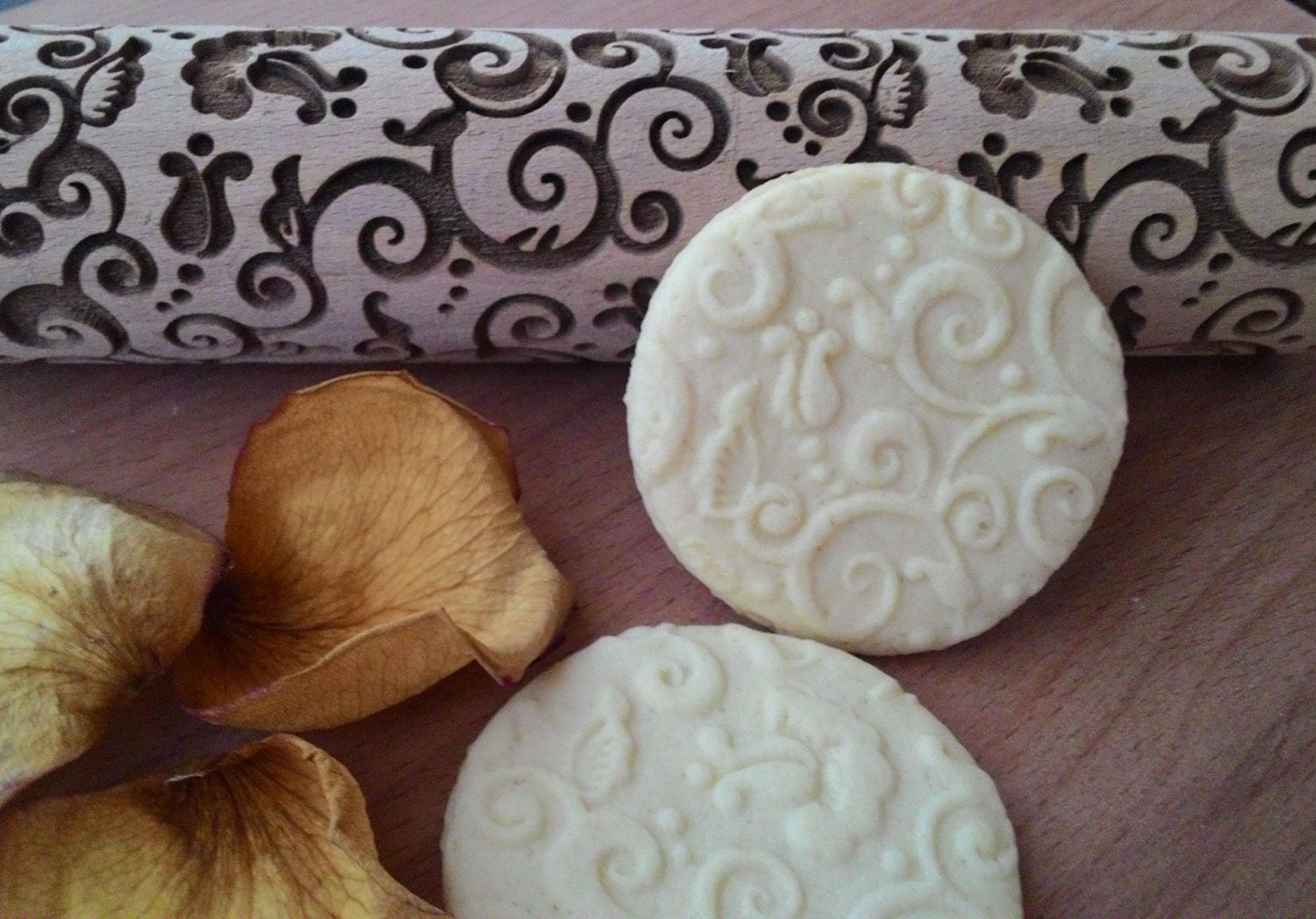 Wooden Rolling pin Laser Cut Tracery Flover Design by ...