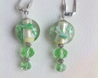 Green earrings, with Murano glass