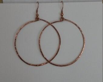 1016 Large Hammered Copper Hoops