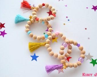 "Children bracelets in wooden beads ""Mermaid"""
