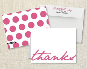 Folded notecard - THANKS with pink pokadots