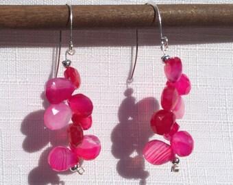 Sterling Silver Pink Chalcedony cluster dangle earrings