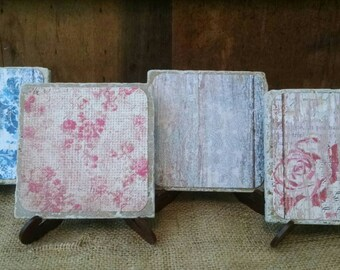 Rose Coasters, Flower Coasters, Floral Coasters, Garden Coasters, Shabby Chic Coasters, Cottage Chic Coasters, Stone Coaster Set