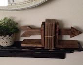 Arrow Bookends, Wooden Bookends, Nursery Decor, Rustic Bookends