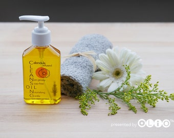 Calendula Infused Oil Facial Cleanser, Face Cleansing Oil for Sensitive Skin, Herbal Oil Cleanser, Spa Gift Set, Natural Makeup Remover, 4oz