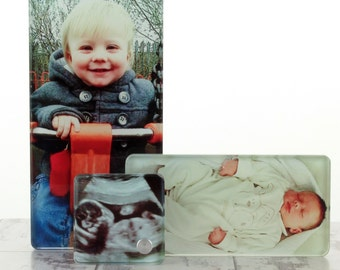 Personalised 3 in 1 Printed Glass picture Photo block