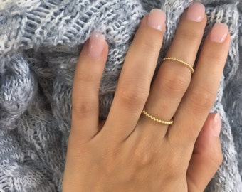 Bead stackable ring. High quality sterling silver stackable ring. Dainty sterling silver beaded stacking ring. Vermeil beaded stacking ring.