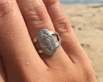 Boho jewelry, boho rings, imprinted jewelry, imprinted rings, beachy rings, sterling silver rings