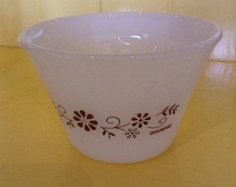 Vintage Dynaware Pyrex, Milk Glass, Custard Bowls, Ramekins, Brown Floral Design