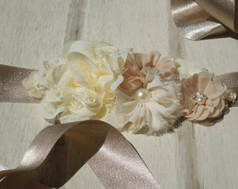 Champagne Sash, Ivory and Champagne Bridal Belt, Flower Girl Sash, Champagne Ribbon