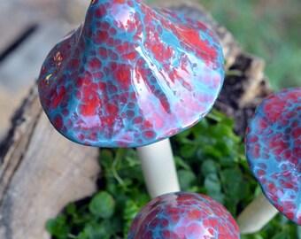 Garden Ceramic Mushroom, Terrarium, Pot Decoration, Home Decor,  Ceramic Mushroom, Tiger's Blood-Red and Blue, Outdoor Decoration.
