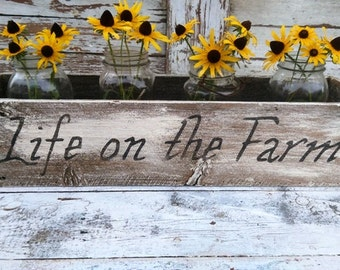 Life on the farm- White - Rustic Wooden Box- Centerpiece- Table decor'-Fixer Upper farm  table decor'-Rustic wooden display- Wedding Display