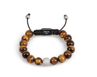 Tiger Eye Gemstone Bead Bracelet with Pave