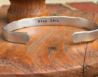 """Stay Chic - Inside Secret Message Hand Stamped Cuff Stacking Bracelet Personalized 1/4"""" Adjustable Hand"""