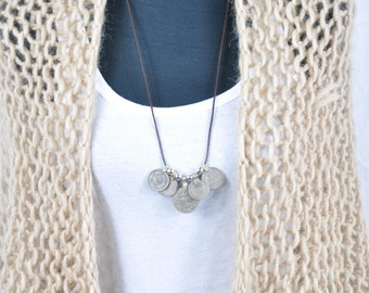 Silver Coin necklace. Boho necklace. Gypsy necklace, Boho jewelry, Tribal necklace,  Gypsy jewelry, Arabic necklace, Kuchi coin necklace.