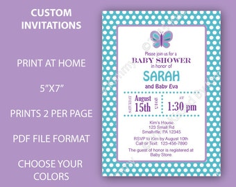butterfly baby shower invitations butterfly polka dots baby shower custom printable baby shower decorations girl - Baby Shower Invitations Party City