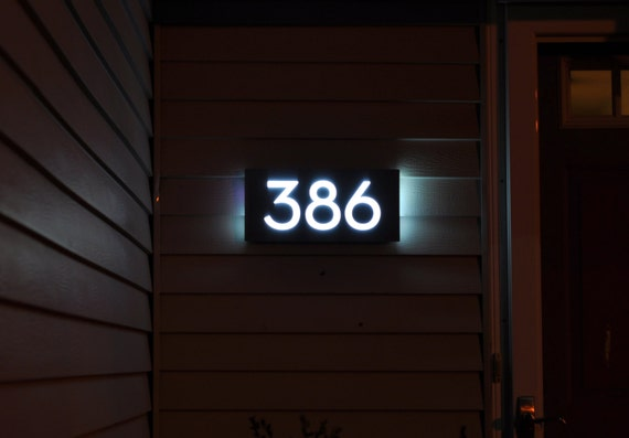 custom aluminum acrylic led house numbers sign 5 tall. Black Bedroom Furniture Sets. Home Design Ideas