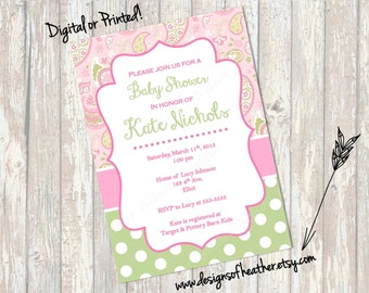 Pink Paisley Baby Shower Invitation