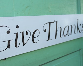 Give Thanks Hand Painted Wood Sign