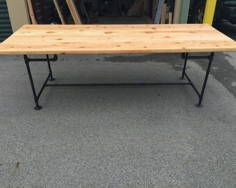 Industrial Dining Table / Kitchen Table / Desk - Metal legs with Wood Top - (Indiana Buyers)