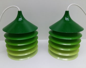 Pair of green Duett pendants by Bent Boysen, old IKEA lamps from the 1970s