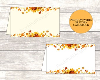 Fall place cards (INSTANT DOWNLOAD) - Fall wedding place cards - Printable place cards - Printable food labels