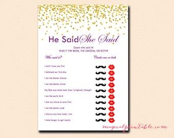 He said she said, bridal shower he said she said game, Gold Confetti Bridal Shower, Purple, Wedding Shower BS84