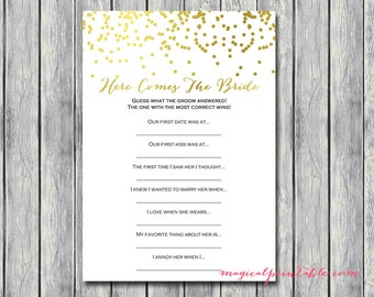 Here comes the bride, what did groom say bridal shower game, Gold Confetti Bridal Shower Game, Bachelorette, Wedding Shower BS87