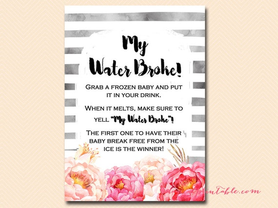 my water broke ice cube baby game ice cube game watercolor peonies