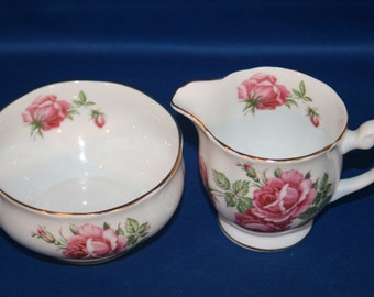Vintage Windsor Bone China Open Sugar Bowl and Creamer made in England circa 1950's