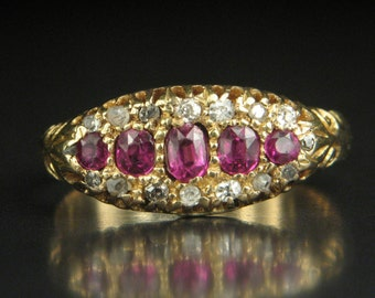 Antique Victorian Period 15ct Gold Ruby & Diamond Ring Circa 1890