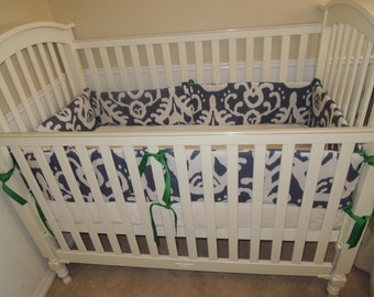 Navy Ikat Baby Bedding Set