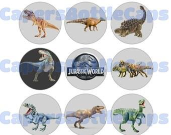 "DDinosaur Bottlecap Images Download, 4x6 Collage Sheet, 1"" Bottle Cap Circles, Craft Bottlecap images"