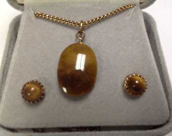 Vintage Tiger Eye Necklace and Earrings Set