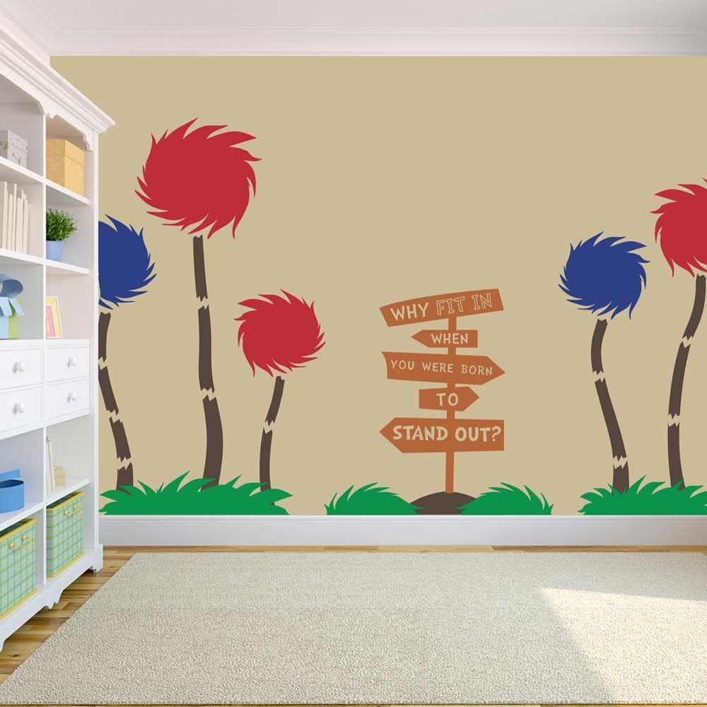 Truffula trees dr seuss vinyl wall decal by stolzdesignonetsy for Dr seuss wall mural