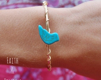Peace Bracelet, Wire Wrapped Bracelet, Gold Bracelet, Dove Bracelet, Handmade Bracelet, Gold Dove, Turquoise bracelet, Wire Wrapped, Gold