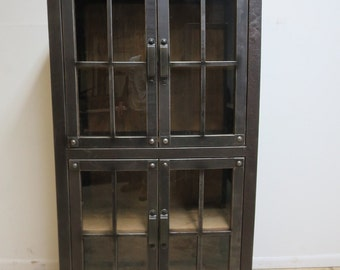 Industrial Reclaimed Metal China Curio Cabinet Hutch Break Front Book Case B
