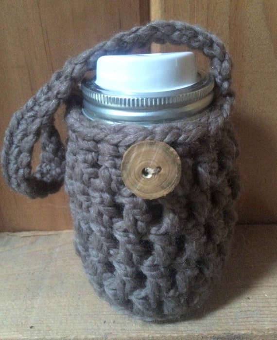 Book Cover Crochet Jacket : Crochet pattern mason jar cozy jacket drink cover with handle